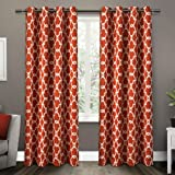 Kitchen Window Curtains Pottery Barn Exclusive Home Gates Sateen Woven Room Darkening Grommet Top Window Curtain Panel Pair, Mecca Orange, 52x108