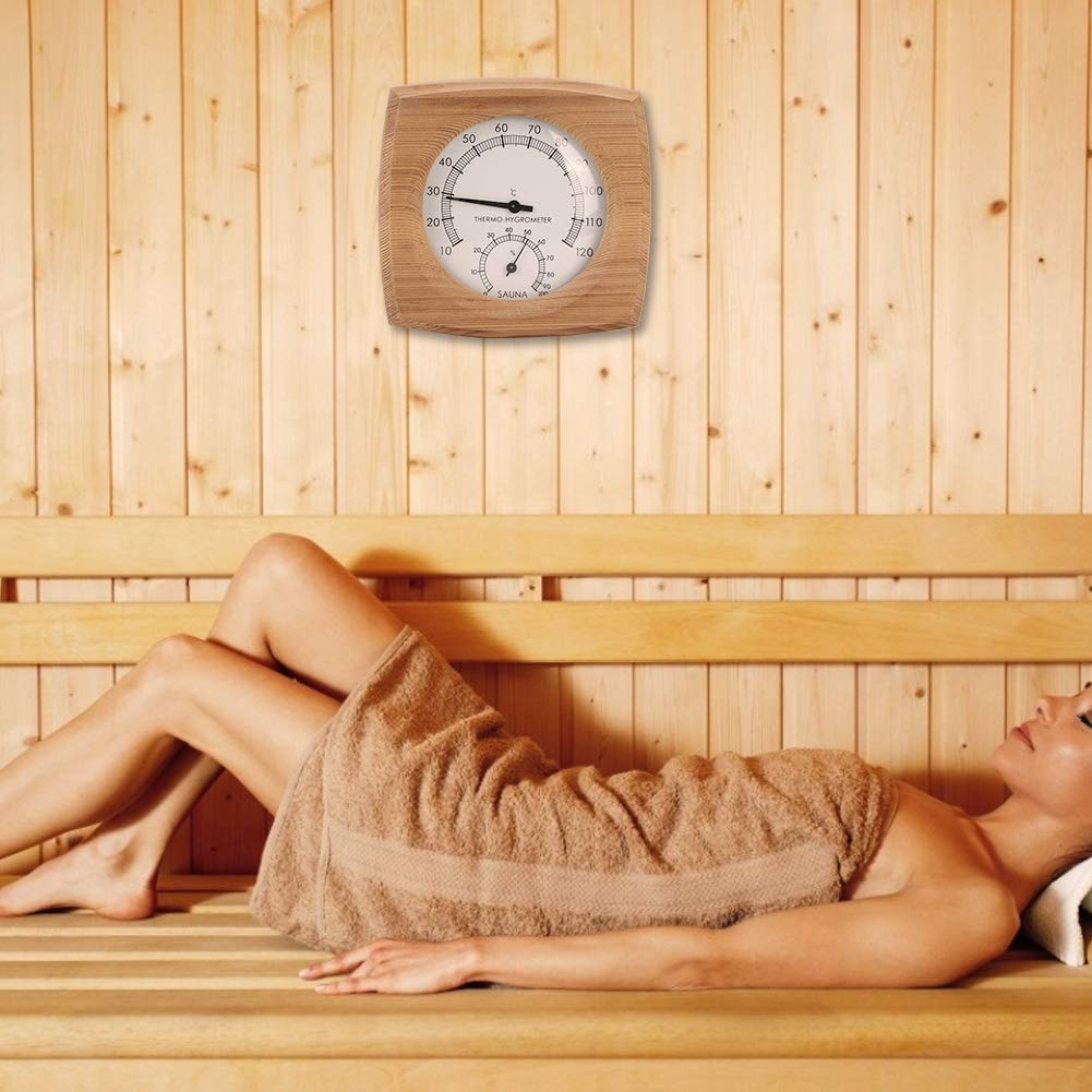 Huakii Indoor Wood Thermo-Hygrometer 2-In-1 Thermometer Hygrometer for Steam Room Sauna Room