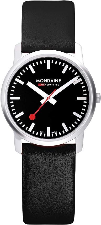 Mondaine Simply Elegant - Reloj de Cuero Negro para Hombre y Mujer, A638.30350.14SBB, 41 MM