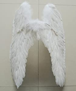 """Pre-fashion 31.5"""" 31.5"""" Halloween Christmas Costume Dance Party Cosplay Stage Show Decor Butterfly Angels Feathered Wings (White)"""