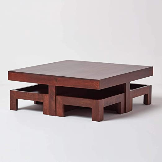 Homescapes Large Dakota 5 Piece Coffee Table Set With 4 Matching Stools Dark Wood Solid Wood Japanese Low Table