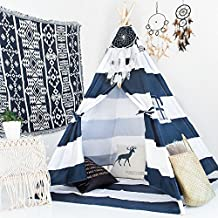 little dove Kid's Foldable Teepee Play Tent, One Four Ploes Style Strip Style Navy/White (Mat Not Included)
