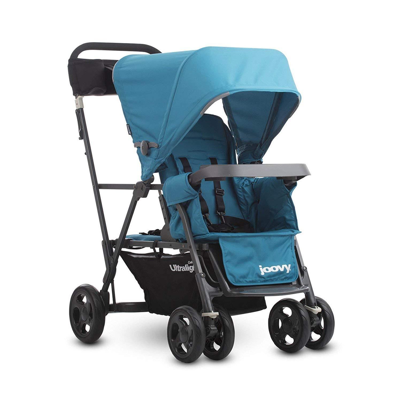 Joovy Caboose Ultraleichter Graphit Kinderwagen Sitz- und Steh-Kinderwagen Doppel-Kinderwagen Eingebautes Buggyboard Tandem-Kinderwagen t/ürkis