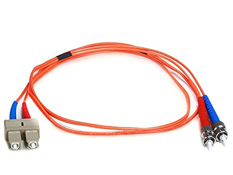 Monoprice 102606 Fiber Optic Cable ST/SC OM1 Multi Mode Duplex 1 Meter  62.5/125 Type , Orange Optical Cables