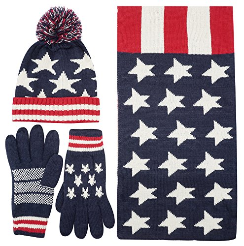 Women's Lady's USA American Flag Star Print Red White Knitted Hat Beanie Scarf Set, White red