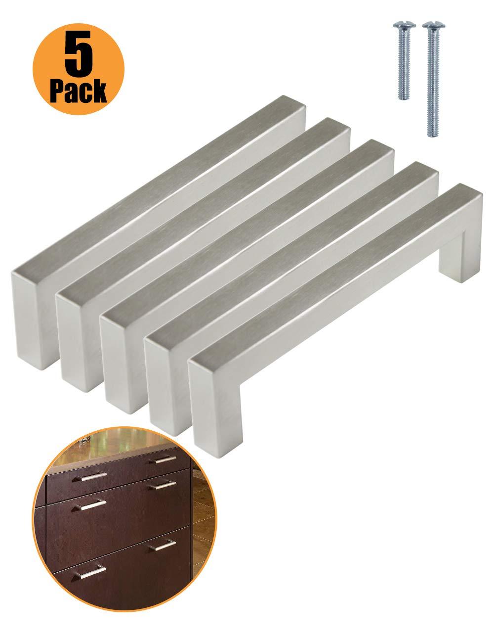 PinLin Tiradores de puerta de armario de cocina de acero inoxidable con agujero central de 12 mm de ancho y mango en T de acero cepillado plateado