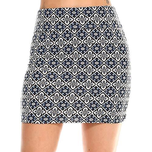 Fashionazzle Women's Casual Stretchy Bodycon Pencil Mini Skirt (X-Large, KS05-#15 Navy)