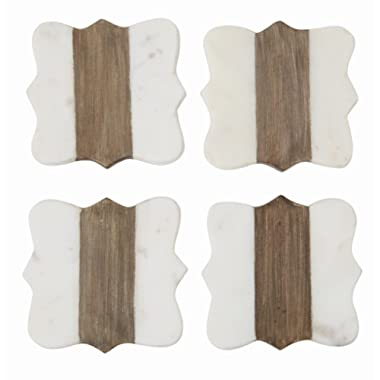 Mud Pie 4254024 Quatrefoil Marble and Wood Coasters Set of 4, One Size, White, Brown