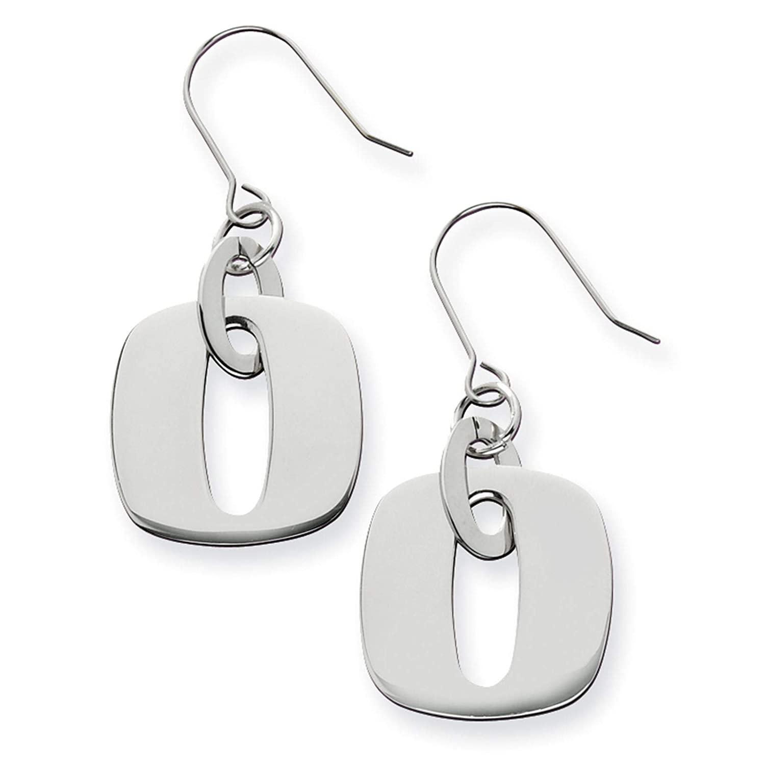 Stainless Steel Polished Square Link Dangle Earrings