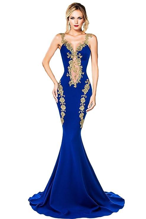 brand new 43e83 bd5f4 Abito Da Blu Donna Applique E Pizzo Elegante Sera Reale Oro ...