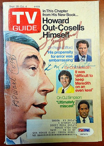 Howard Cosell, Frank Gifford & Don Meredith Signed TV Guide Magazine Monday Night Football - PSA/DNA Authentication - Celebrity Autographs