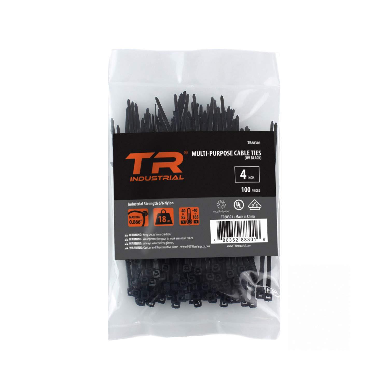 """TR Industrial TR88301 Multi-Purpose Cable Ties (100 Piece), 4"""", Black"""