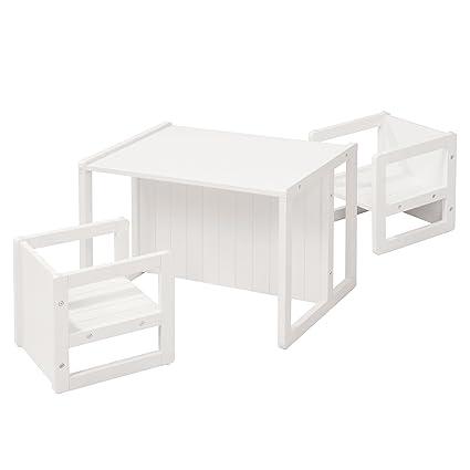 roba Sitzgruppe im Landhausstil für Kinder, bestehend aus 2 Kinderhockern mit 3 Sitzhöhen und 1 zum Tisch umwandelbarer Kinde