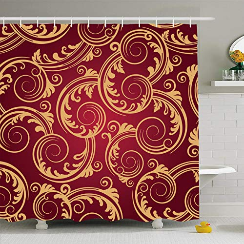 Gold Swirl Pattern - Ahawoso Shower Curtain for Bathroom 60 x 72 Inches Red Yellow Scroll Gold Swirls Pattern Royal Brown Damask Classy Retro Continuous Waterproof Polyester Fabric Set with Hooks
