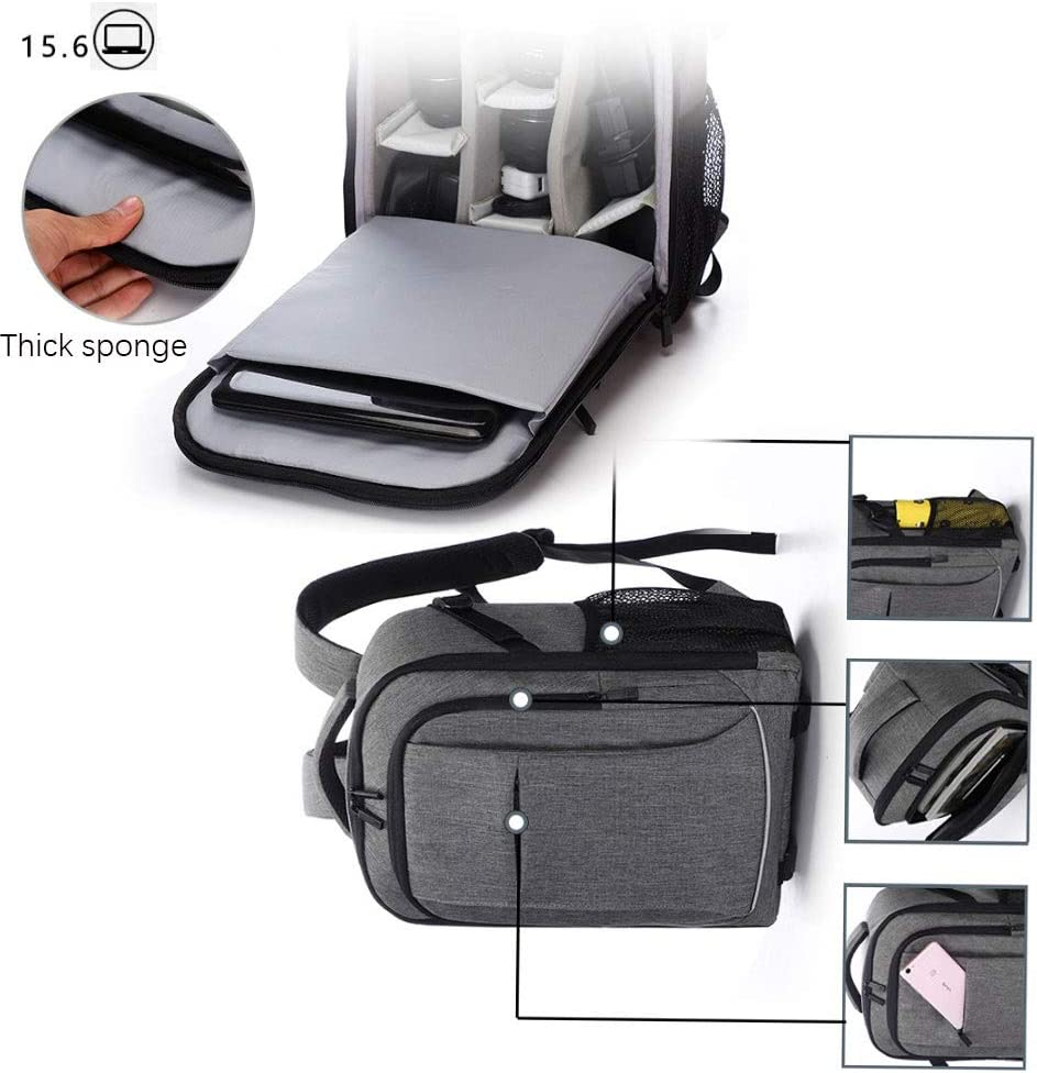 Color : Gray Tripod Holder Camera Bag with Fits 15.6 Laptop Padded Custom Dividers and Rain Cover Waterproof Anti-Shock SLR Camera Backpack Case