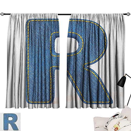 Waterproof Window Curtain Letter R,Retro Denim Style Alphabet Font Pattern with Capital R Letter Blue Jean Design, Blue Yellow 54