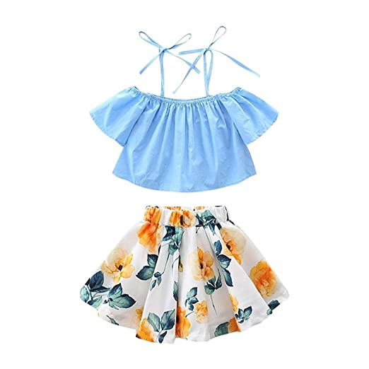 37788754714c Toddler Baby Girl Clothes Summer Dress Off Shoulder Top +Floral Skirt Outfit