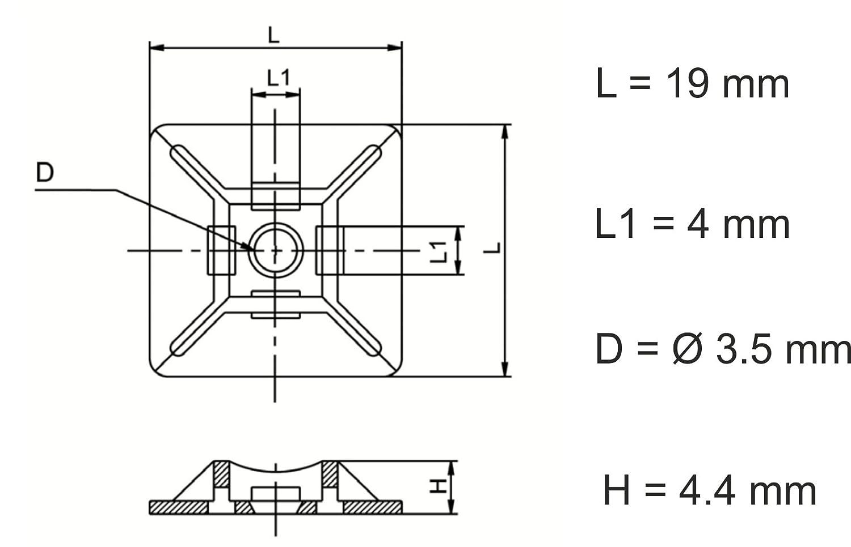 160 140 intervisio Conjunto de 600 Piezas Bridas de Plastico para Cables Nylon de 80 19mm 200 28mm 100 300 mm Negro y 50 Soportes para las Bridas 12mm