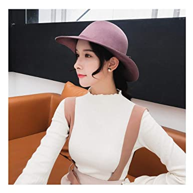 6081daa50 2018 New Brushed Wool Felt Fedora Hat Women's Fashion Autumn And ...