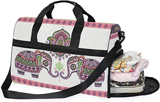 Elephants Sports Gym Bag with Shoes Compartment Travel Duffel Bag for Men and Women