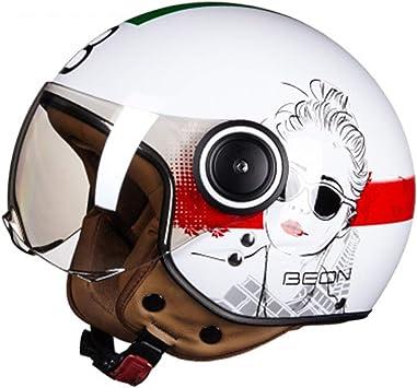 arcobaleno X XXL Mdsfe Mezzo casco moto classico quattro stagioni casco unisex design personalit/à racing doppio anello a fibbia fibbia leggero portatile