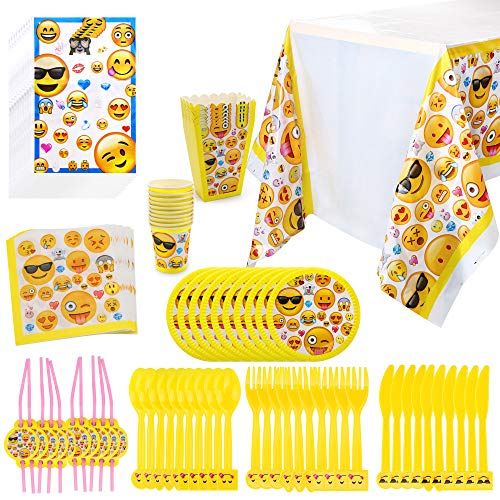 Konsait Emoji Birthday Party Supplies(97pcs), Faces Jumbo Pack Table Decor Set-Paper Plates, Disposable Party Cups, Loot Party Bags, Napkins, Straws, Spoons, Forks, Knives,Table Cover, Serves10 -