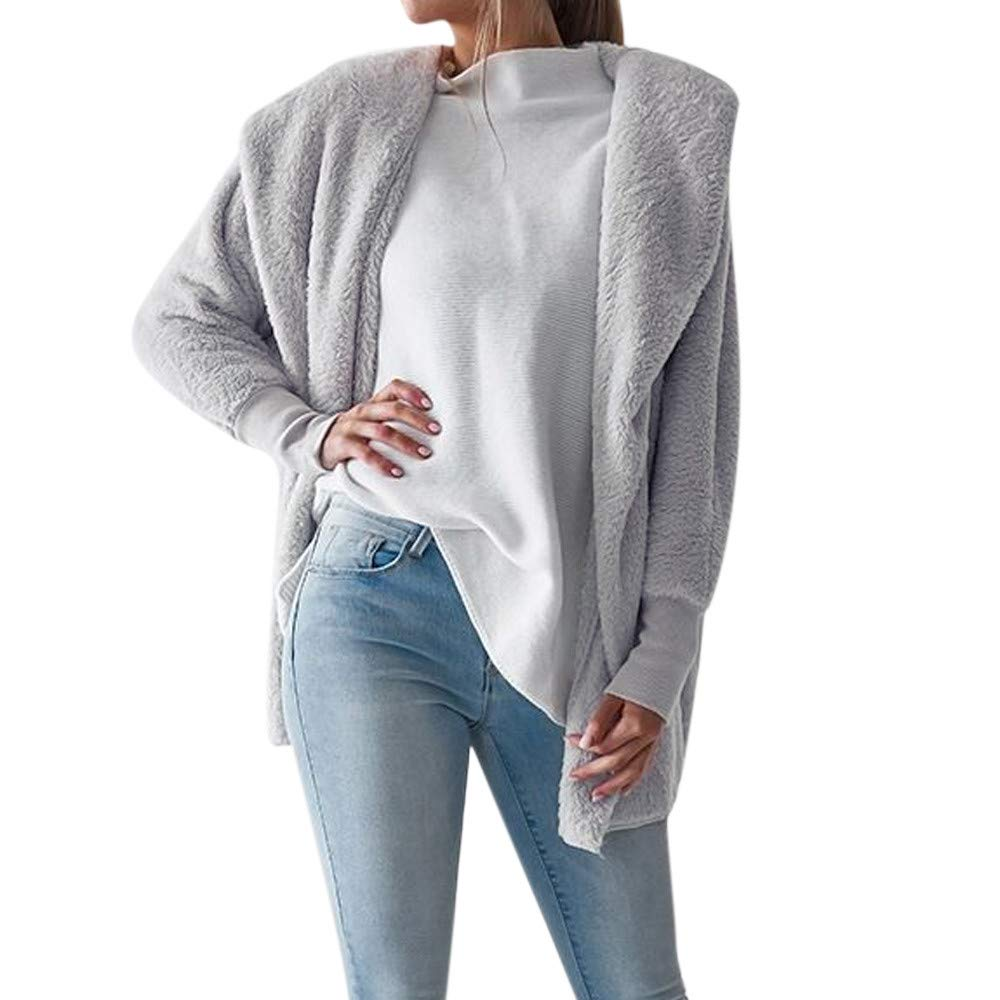 HHei_K Womens Winter Warm Lounge Plain Hoodies Fluffy Coat Long Sleeve Open Front Loose Fleece Hooded Outwear