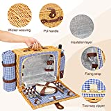 Greenstell Wicker Picnic Basket Sets for 4 Persons