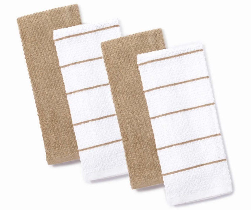 Master Cuisine Tan and White Kitchen Towel Set of 4 Dishtowels