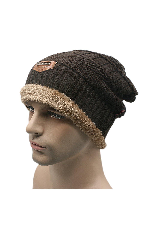 YACUN Männer Ski Hut Warm Kabel stricken dicken Slouch Beanie Mütze mit Fleece