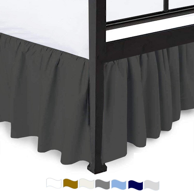 Dust Ruffle Split Corner Bed Skirt Ruffle Dark Grey Microfiber Easy Fits Drop