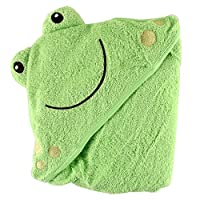 Luvable Friends Animal Face Hooded Woven Terry Baby Towel, Frog