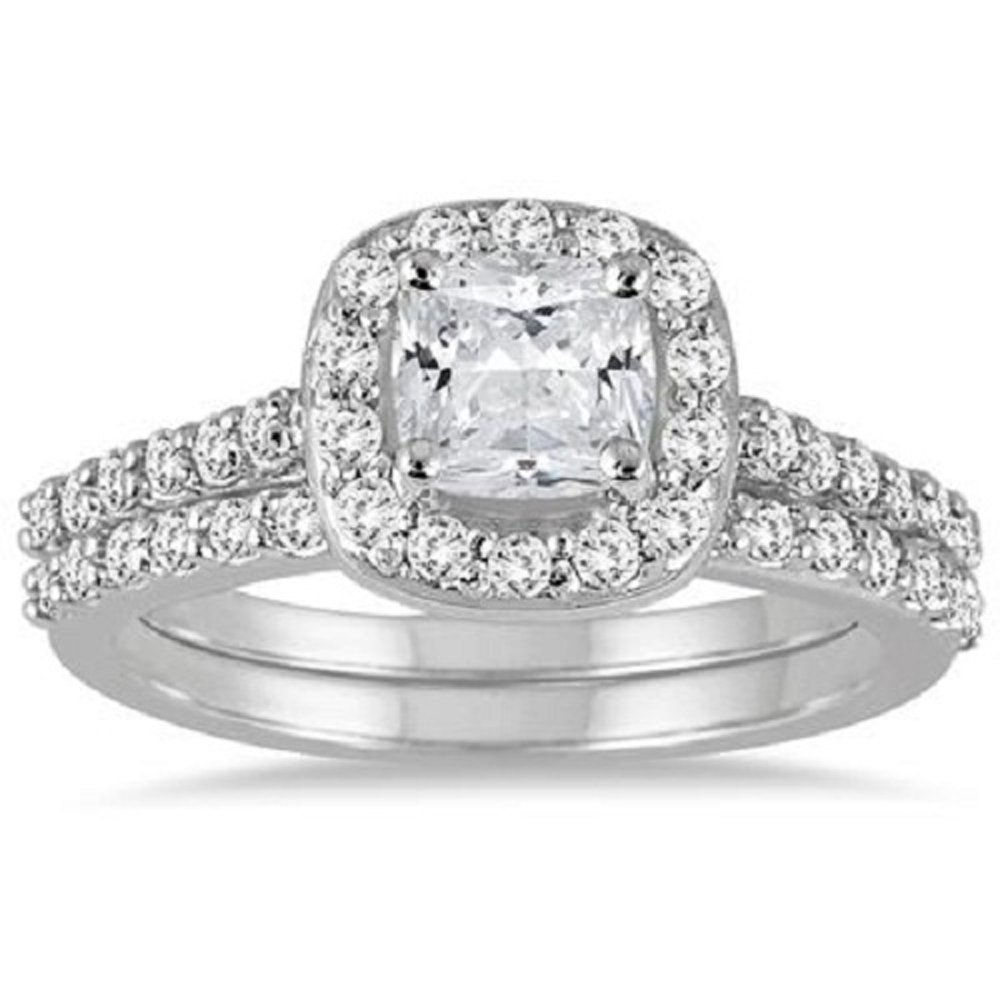 Smjewels 1.50 Ct Cushion Cut Diamond Halo Engagement Wedding Ring Set White Gold Fn 925