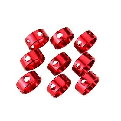 10pcs Tente de camping Vent Corde Boucle rond réglable en alliage d'aluminium Boucle (Rouge)