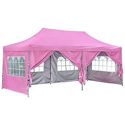 Outdoor Basic Popup Canopy Tent 10x20 Wedding Party Canopies with 6 Removable Sidewalls Pink : Garden & Outdoor