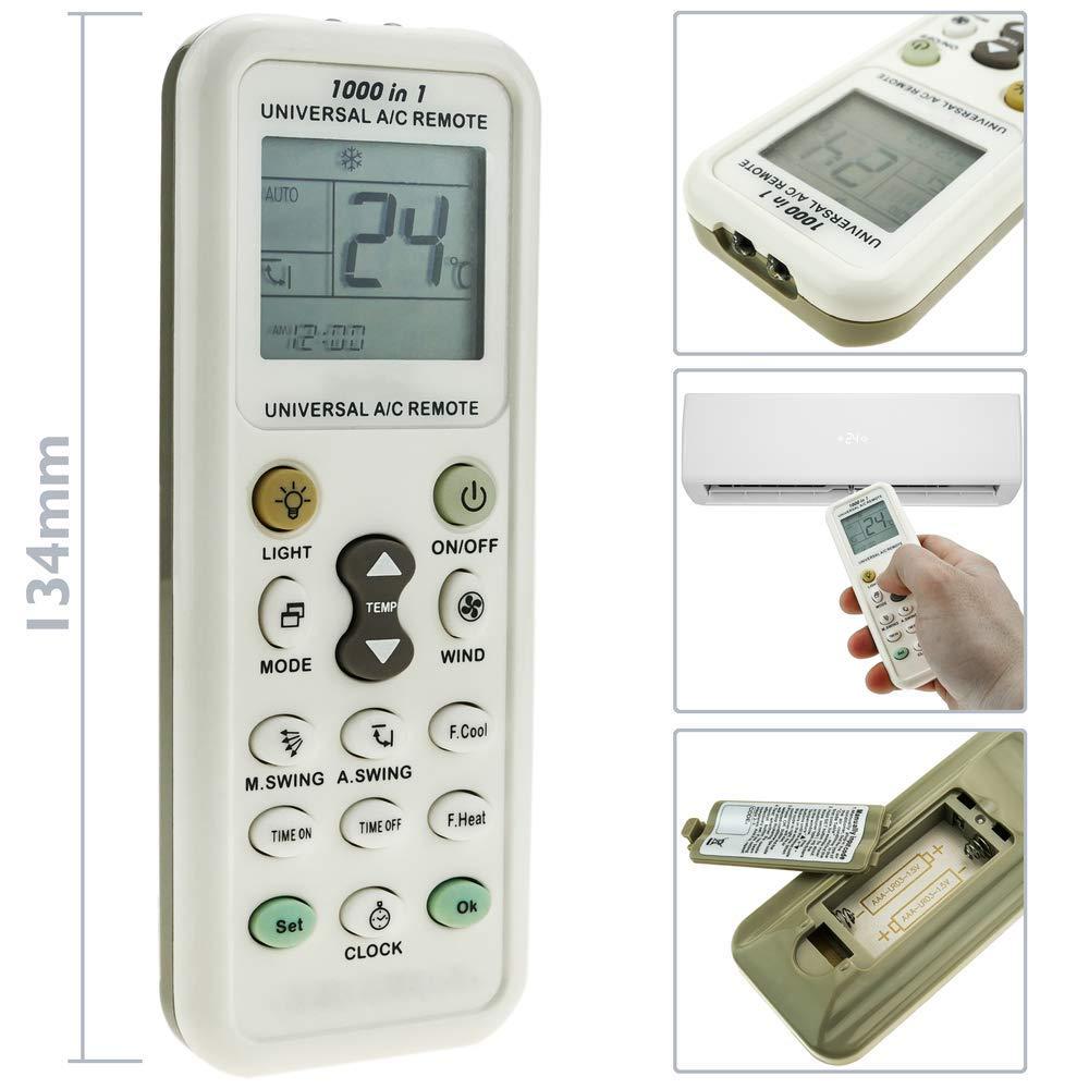 BeMatik Control Remoto para Aire Acondicionado calefacci/ón y climatizaci/ón Mando a Distancia Universal