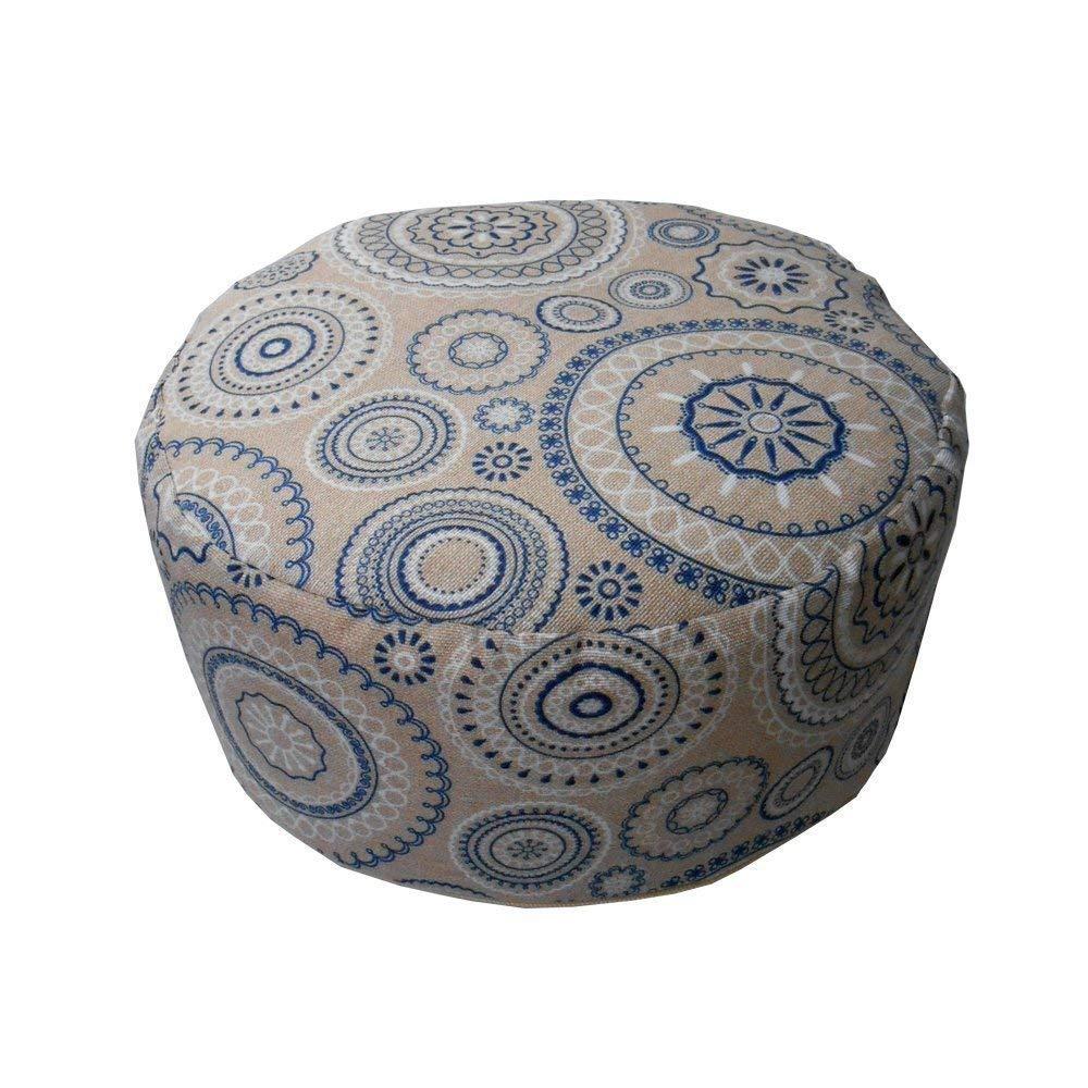 Coussin Zafu 'Mandala's blue' - Coussin de Méditation – Coussin de Yoga (32 cm de diamètre et 16 cm de haut) – 100% coton et cosses de sarrasin – housse lavable – conception unique