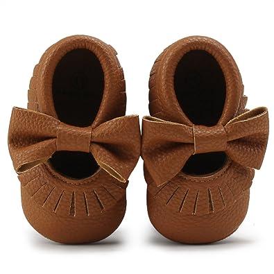 cb475aa6c5f75 DELEBAO Chaussures Bébé Chaussons Bébé Cuir Souple Chausson Enfant  Chaussures Premiers Pas Cuir Souple Bébé Fille