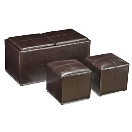 Exceptionnel Jameson Double Storage Ottoman With Tray Tables