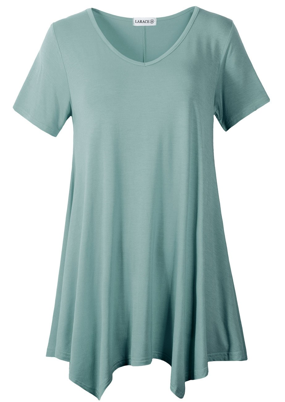LARACE Women Casual T Shirt V-Neck Tunic Tops for Leggings(4X, Grayish Green)