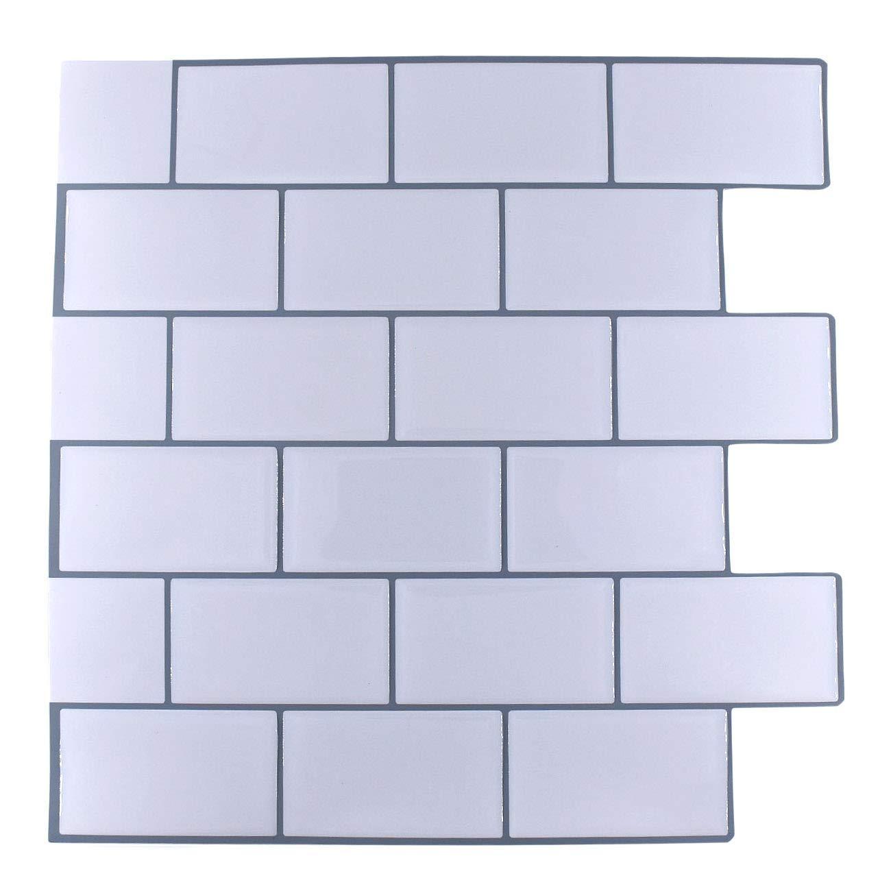 "Peel and Stick Subway Tile Backsplash,HONJAN Renters Groutless Removable Adhesive White Vinyl Backsplash for Kitchen Bathroom 10""x10"" Pack of 5 (A)"