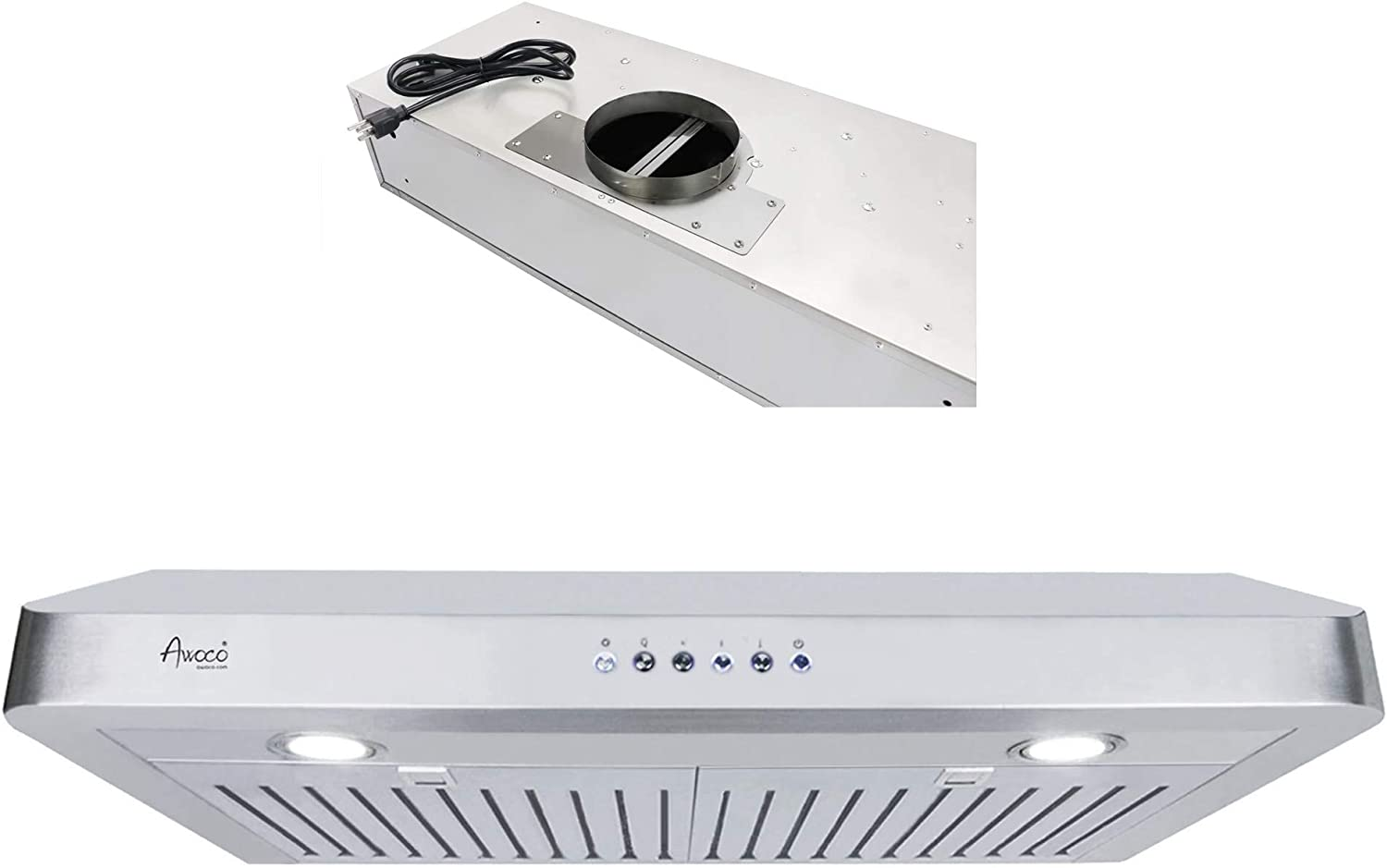 "Awoco RH-C06-42 Classic 6"" High 1mm Thick Stainless Steel Under Cabinet 4 Speeds 900CFM Range Hood with 2 LED Lights, 6"" Round Top Vent - 42"" Width"