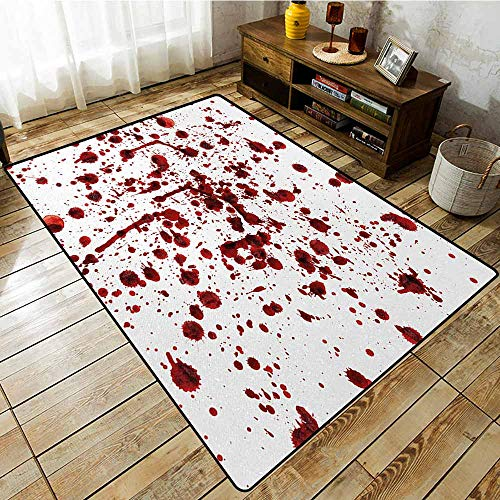 Large Area Rug,Horror,Splashes of Blood Grunge Style Bloodstain Horror Scary Zombie Halloween Themed Print,Anti-Static, Water-Repellent Rugs,5'10