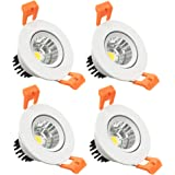 LightingWill 4-Pack 3W CRI80 LED Downlight Dimmable COB Directional Retrofit Kit 220LM Cut-out 2in(51mm) Dimmable 60 Beam Angle 3000K-3500K Warm White 25W Halogen Bulbs Equivalent