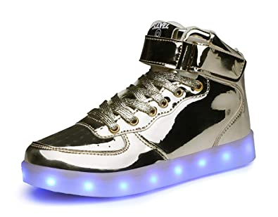 b76aec88b04d SLEVEL Upgrade LED Light Up Shoes USB Flashing Sneakers for Kids Boys Girls (SsS98Gold25)