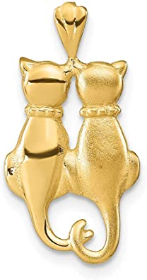 14k Yellow Gold Cats Pendant Charm Necklace Animal Cat Fine Jewelry Gifts For Women For Her