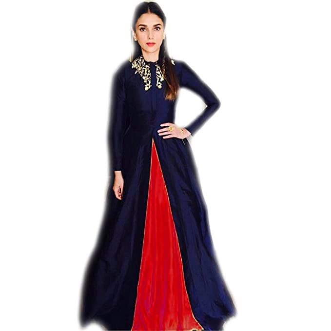 00212048b0 DD's Creation Blue and Red Banglori Silk Embroidered Semi stitched ...