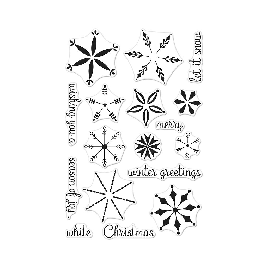 Hero Arts CM308 Stacking Snowflakes Unmounted Clear Rubber Stamp Set