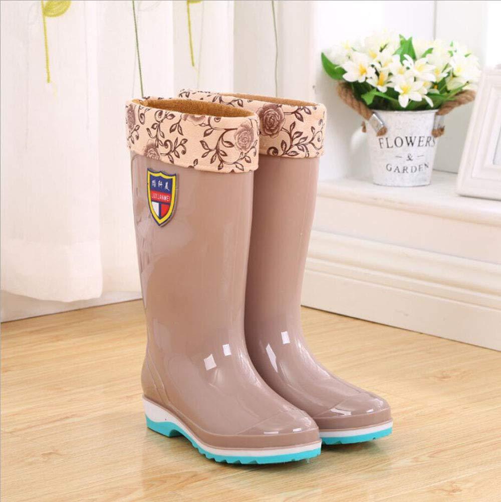 HRFHLHY Hohe wasserdicht Röhren-Damen Regenstiefel Solid Farbe wasserdicht Hohe Schuhe Nicht-Rutschfeste Regenstiefel Wearable Schutzschuhe Damen Plastikschuhe Rutschfeste weibliche Regenstiefel,Rosa,37 8abf86