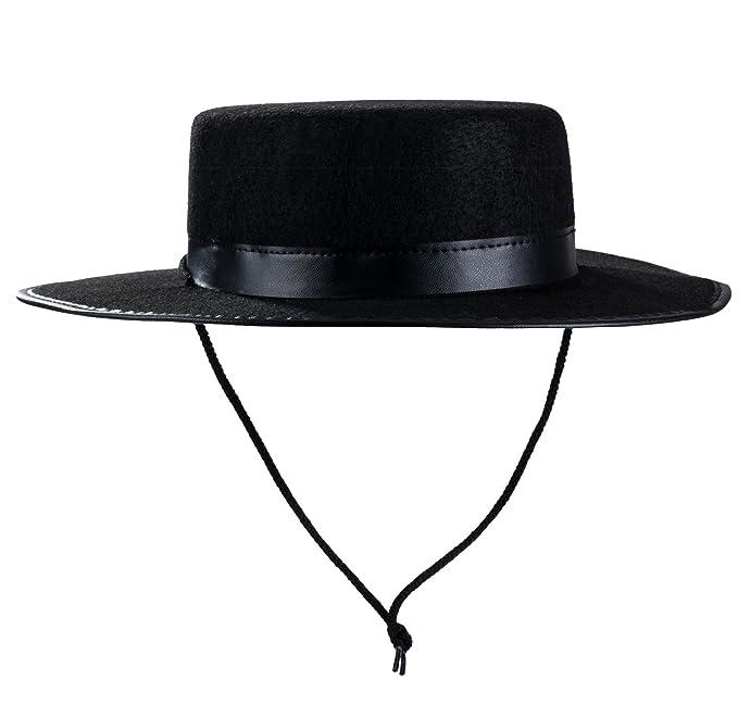 fae0e65dfa553 Amazon.com: Tigerdoe Spanish Hat - Gaucho Hat, Amish Hat, Black Fedora Flat  Top - Costume Hats: Clothing